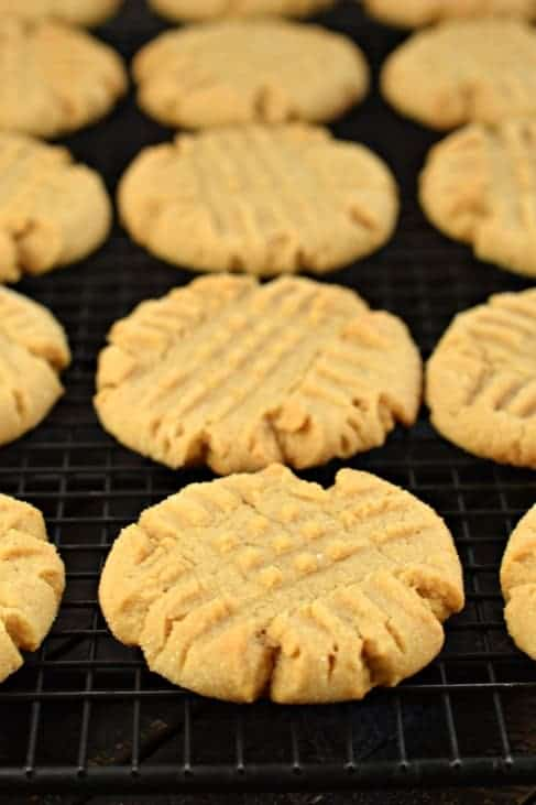 Peanut Butter Cookies on a wire rack to cool.
