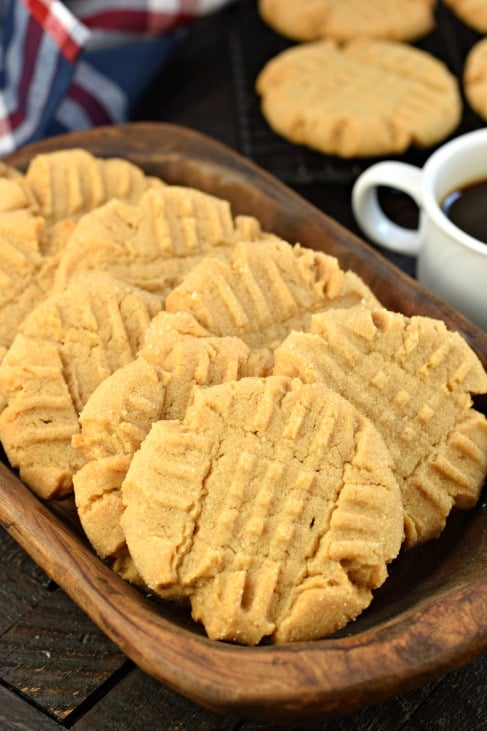 Peanut Butter Cookies on wooden plate