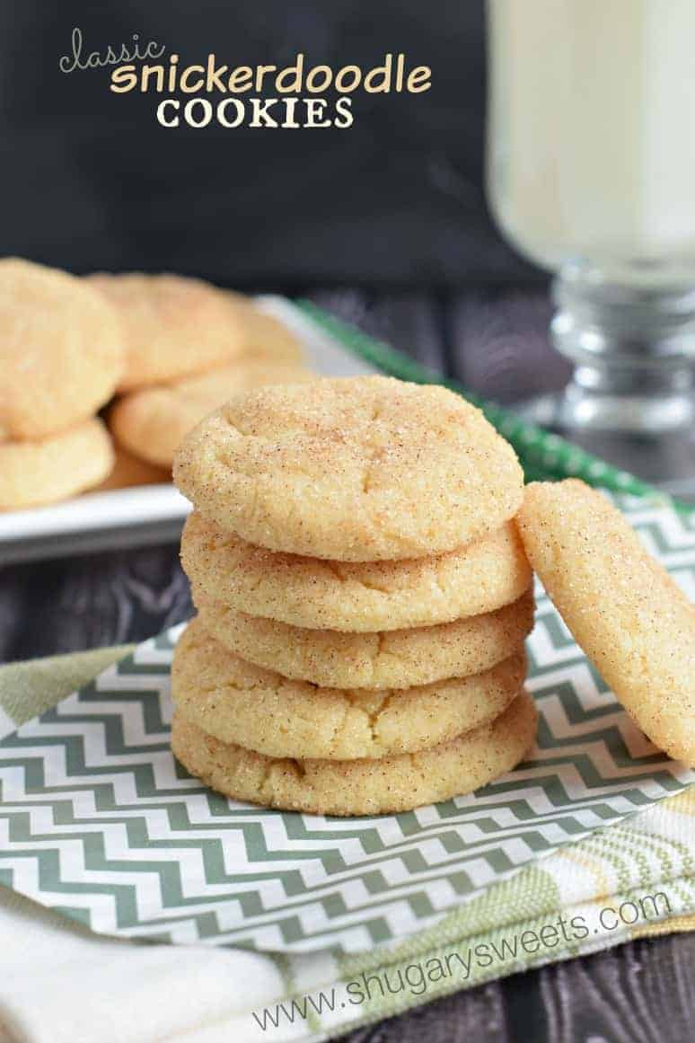 Stack of 5 snickerdoodle cookies on a gray chevron napkin.