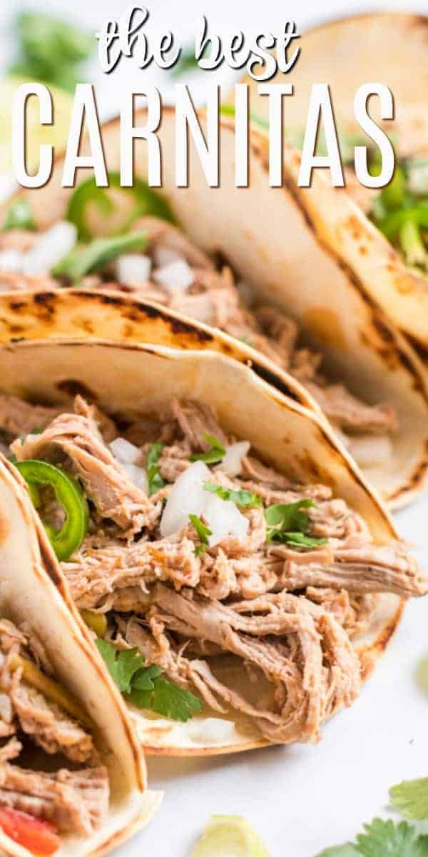 Slow Cooker or Crock Pot Carnitas should be fork tender and bursting with flavor. You'll love this easy recipe for pork carnitas with little prep and lots of flavor.