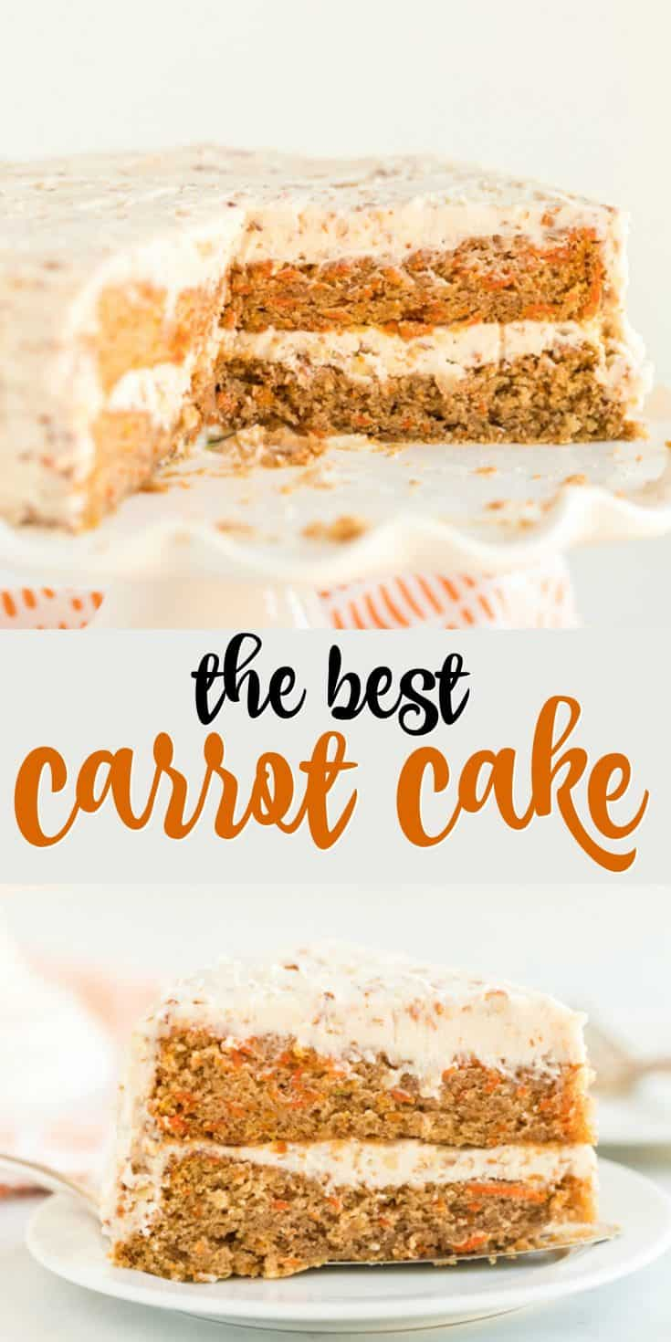 A classic Carrot Cake with Cream Cheese Frosting that's easy to bake and decorate. The addition of pecans in the frosting and cake makes this carrot cake recipe extra delicious!