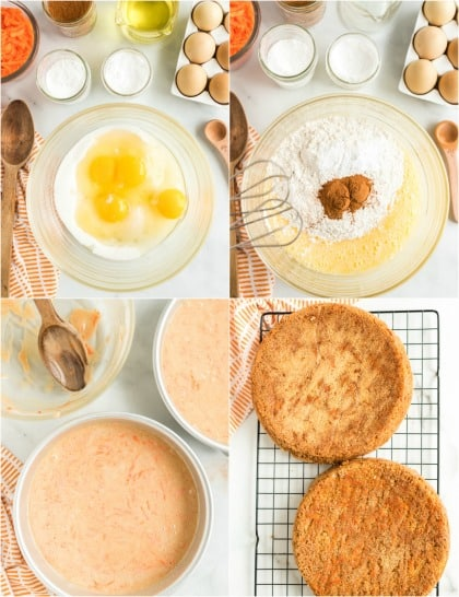 Step by step instructions for making carrot cake