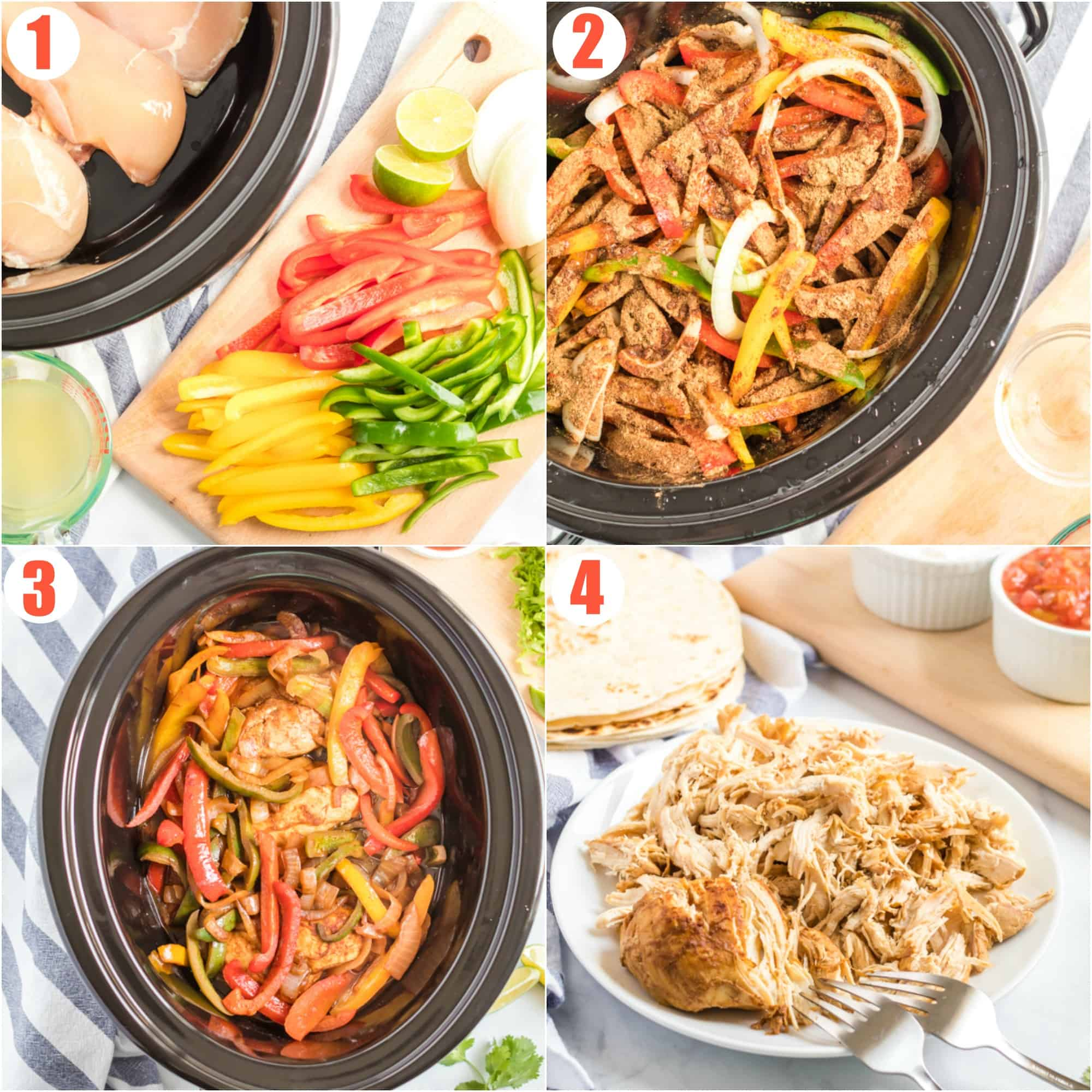 Step by step photo collage for how to make Chicken Fajitas in the crockpot.