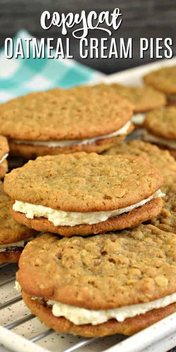 Homemade, soft and chewy, Copycat Little Debbie Oatmeal Cream Pie recipe. This classic childhood treat is chock full of flavor and filled with a delicious creamy center!