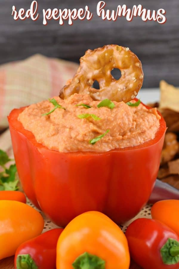 Creamy, easy Roasted Red Pepper Hummus recipe is smooth and perfect served with warm pita bread or chips.