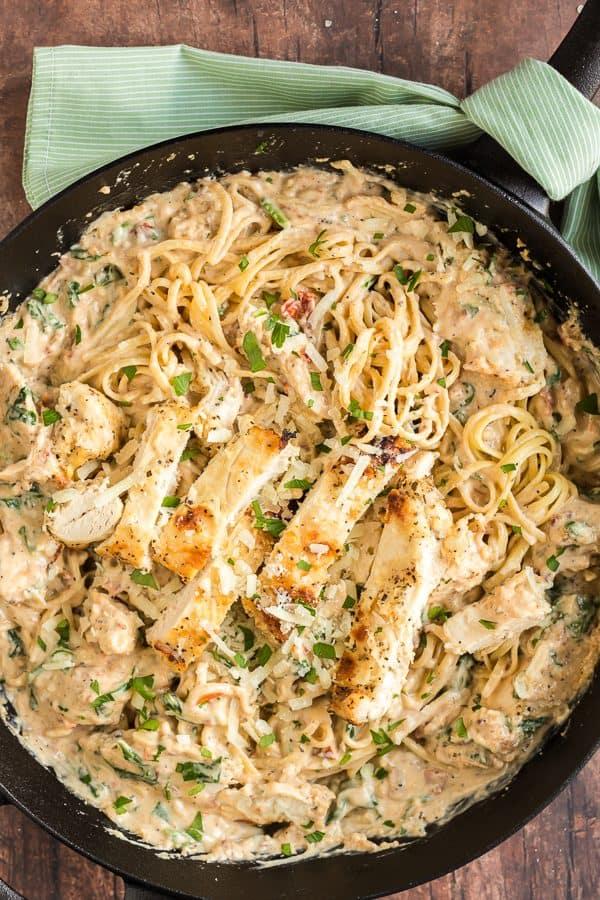 Skillet with Creamy Italian chicken Pasta