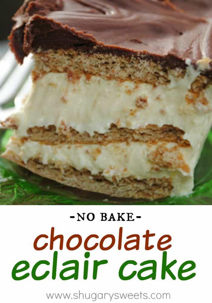 Chocolate Eclair Cake - Shugary Sweets