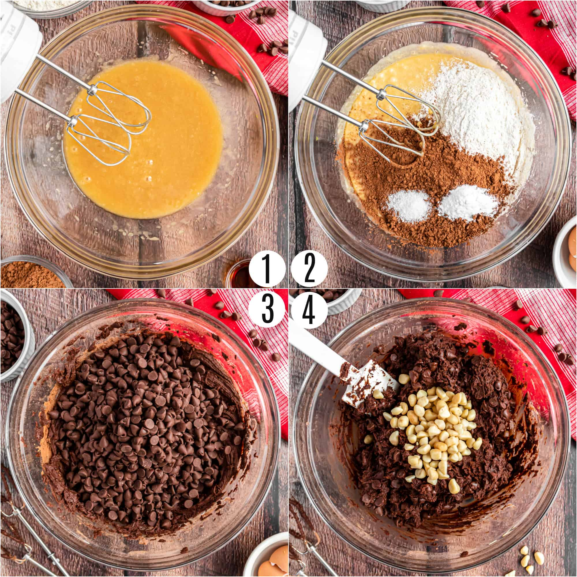 Step by step photos showing how to make chocolate macadamia nut cookies.