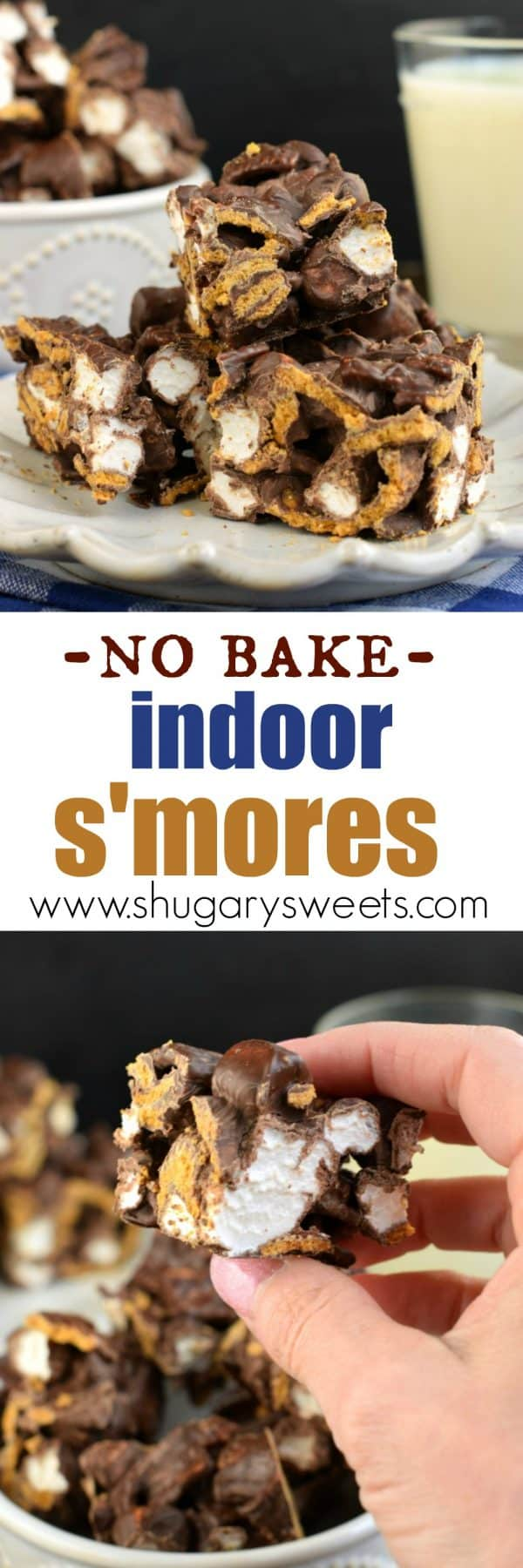 No Bake Indoor S'mores Bars with just 3 ingredients! Easy to make, no campfire needed.