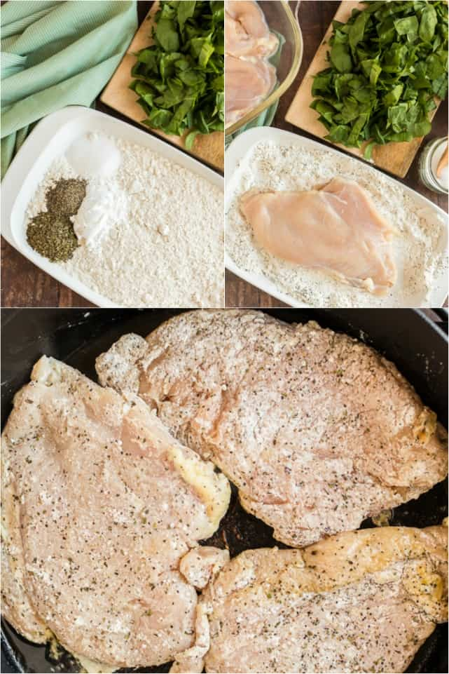 Step by step photo collage on how to bread Italian chicken.