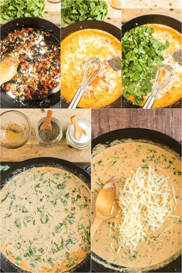 Step by step photos on how to make creamy tuscan garlic sauce for chicken.