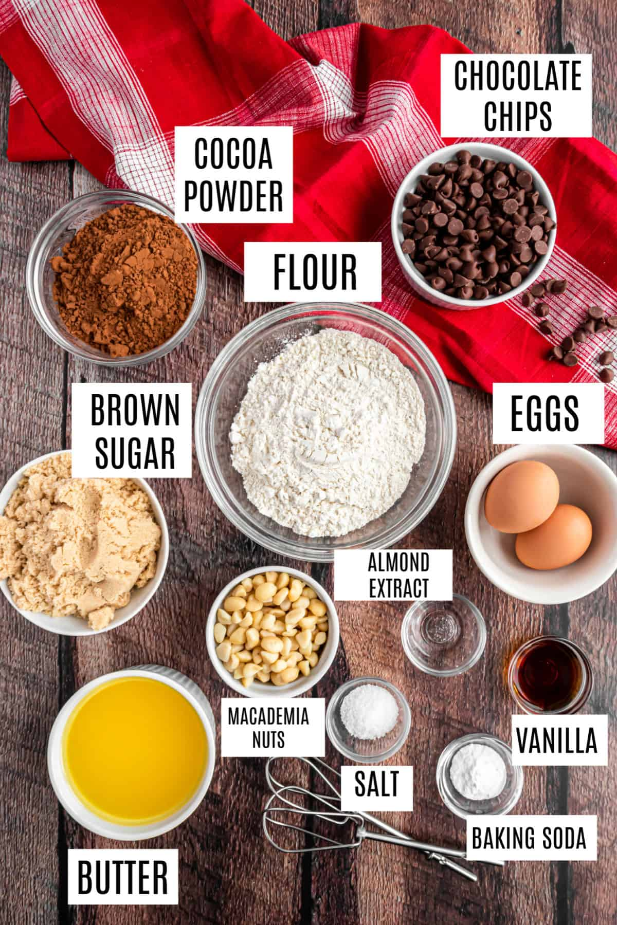 Ingredients for chocolate macadamia nut cookies.