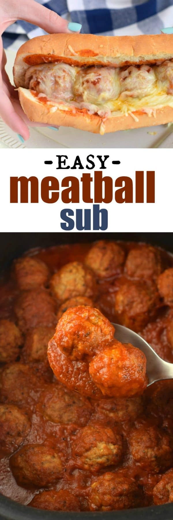 Easy, Italian Meatball Sub recipe made from homemade meatballs, delicious marinara sauce, served toasted with extra cheese! The perfect weeknight dinner.