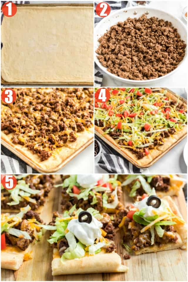 Step by step collage of photos on how to make homemade beef taco pizza.
