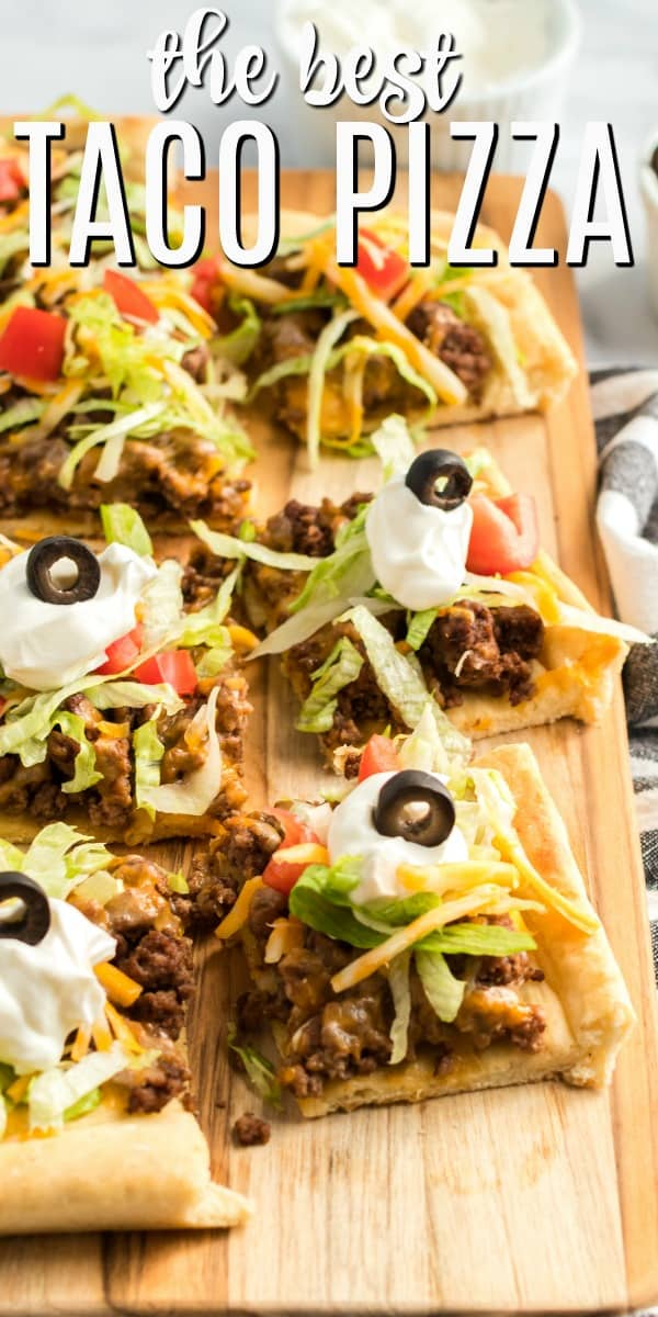 This Easy Taco Pizza is the perfect weeknight meal or game day food! Serve it up assembled or let your guests choose their toppings. It's always a hit.