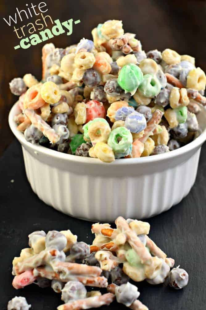 Easy WHITE TRASH CANDY recipe. Toss together sweet and salty snacks with melted white chocolate for a delicious treat!