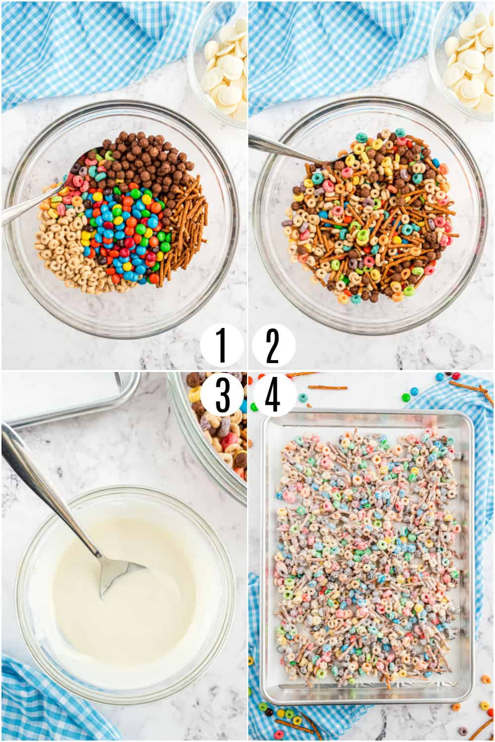 Step by step photos showing how to make white trash candy.
