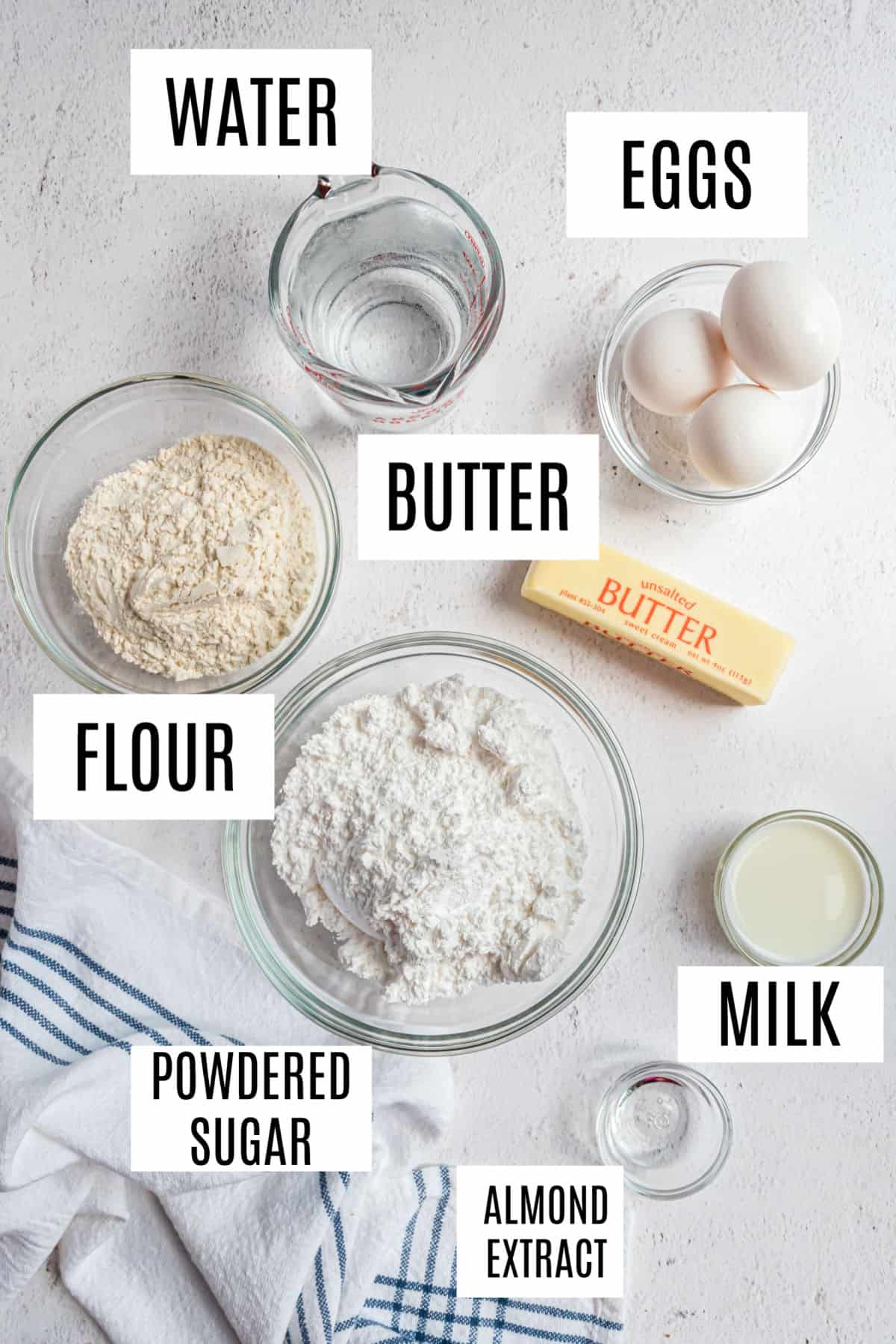 Ingredients needed to make an almond kringle recipe.