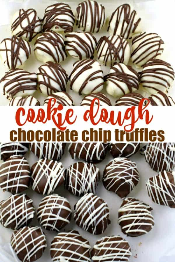 Two kinds of Chocolate Chip Cookie Dough Truffles...dark chocolate and white chocolate