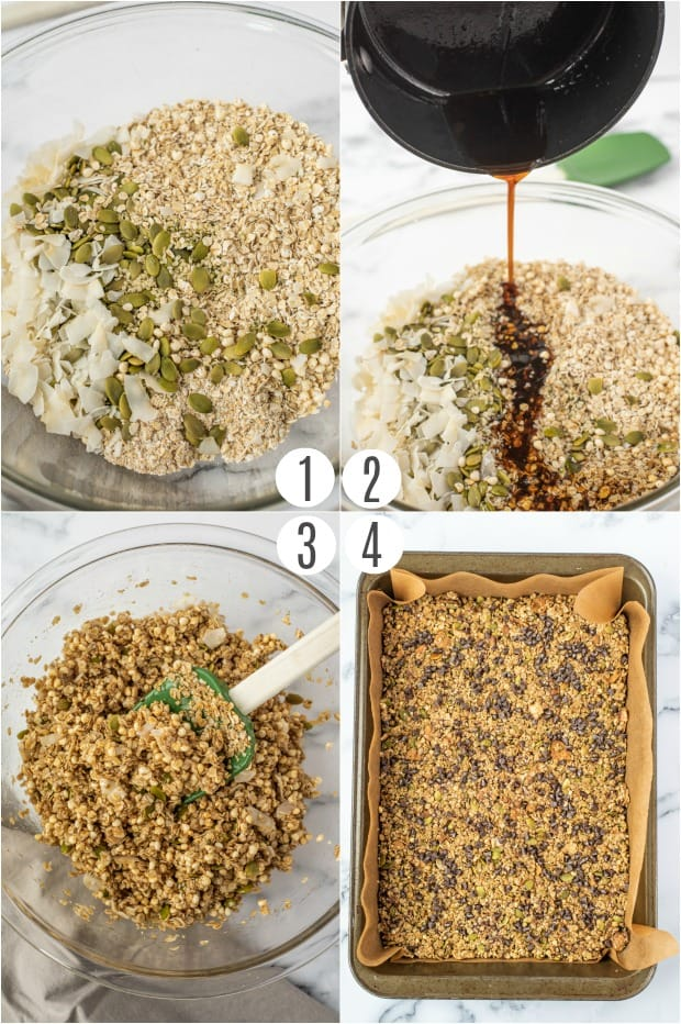 Step by step photos to make homemade healthy granola bars.