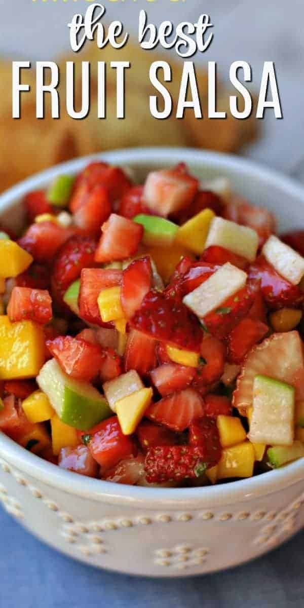 The Best and Easiest Fruit Salsa Dip recipe served with homemade cinnamon tortilla chips! Perfect for picnics and potlucks!