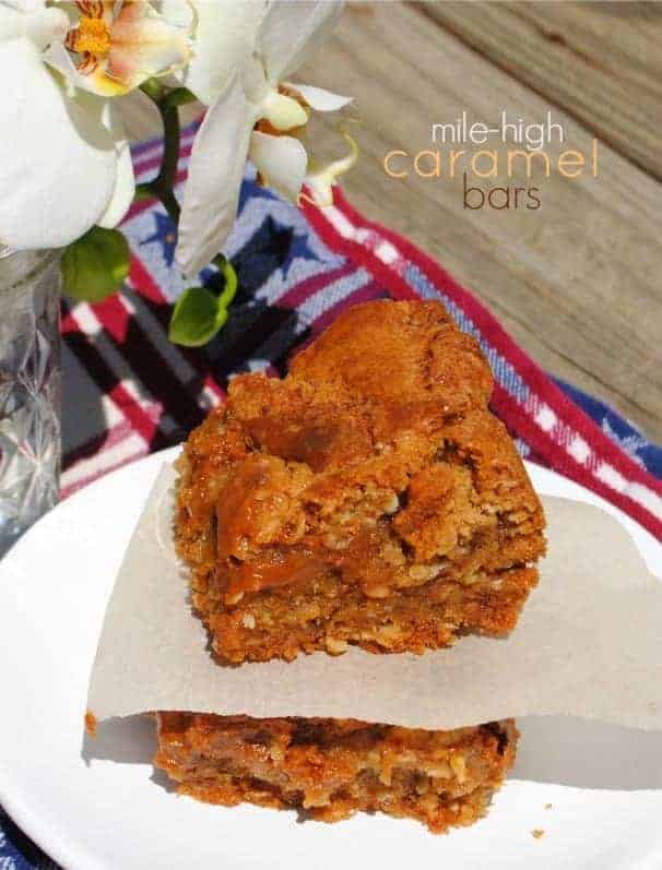 Mile High Caramel Bars: chewy blondies for the serious caramel lover!