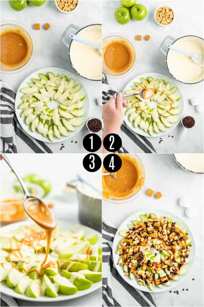 Step by step photos showing how to assemble caramel apple nachos.