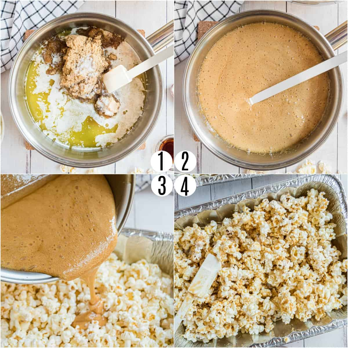 Step by step photos showing how to make caramel corn.