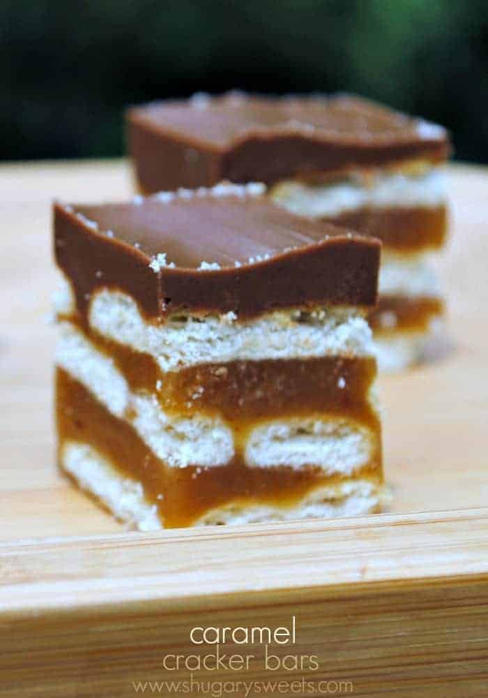Caramel Cracker Bars: layers of crackers, caramel, and chocolate. SO GOOD!