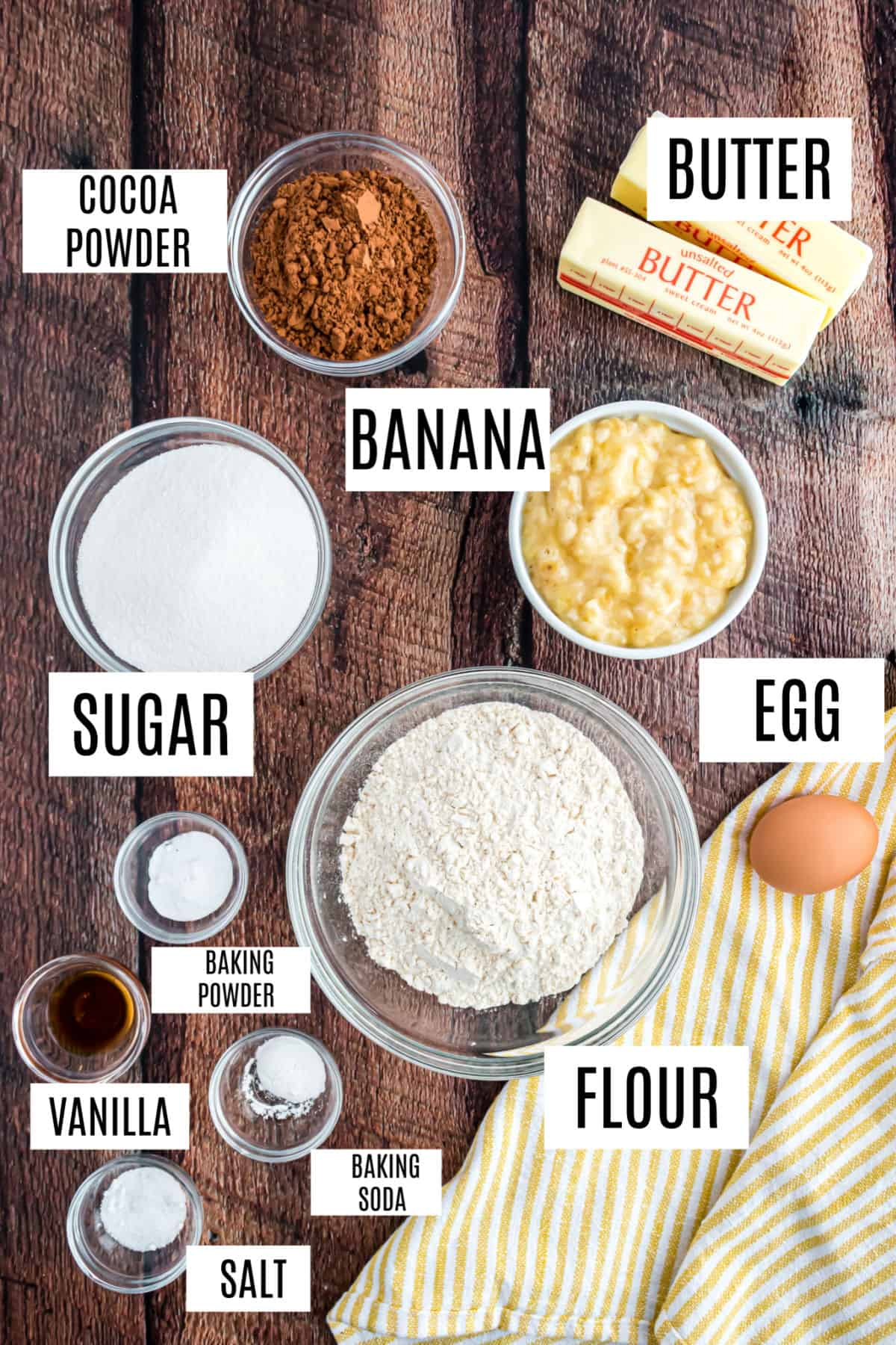 Ingredients needed for chocolate banana cake.