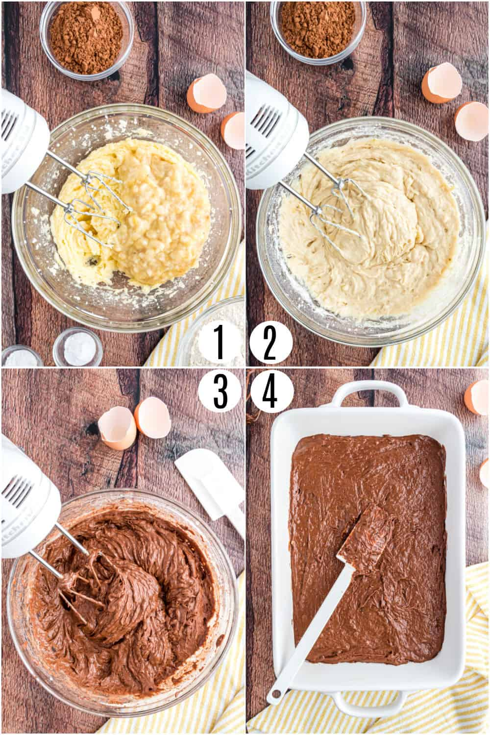 Step by step photos showing how to make chocolate banana cake.