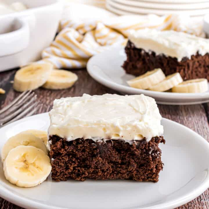 Chocolate banana snack cake with cream cheese frosting.