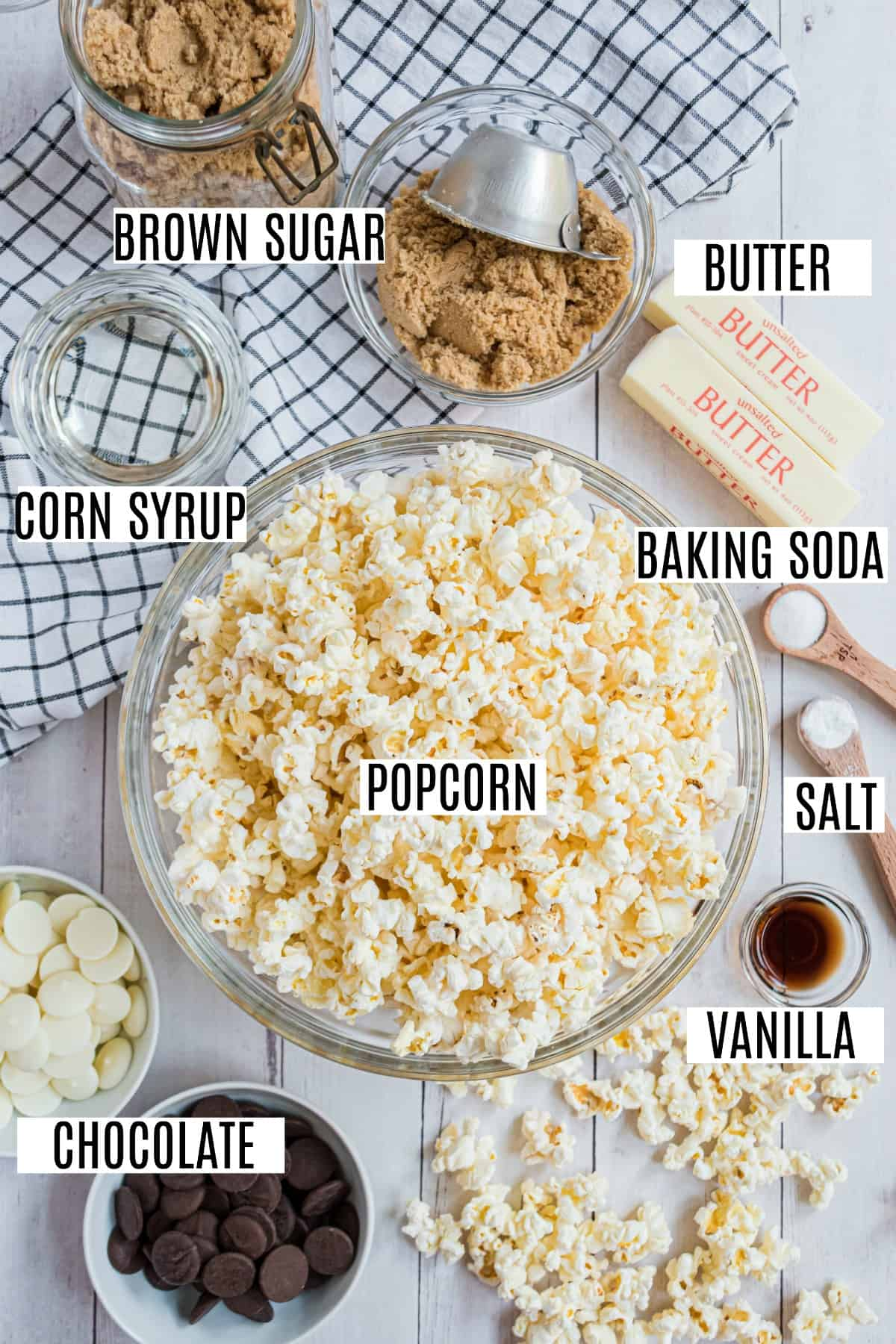 Ingredients needed for homemade chocolate covered caramel corn.