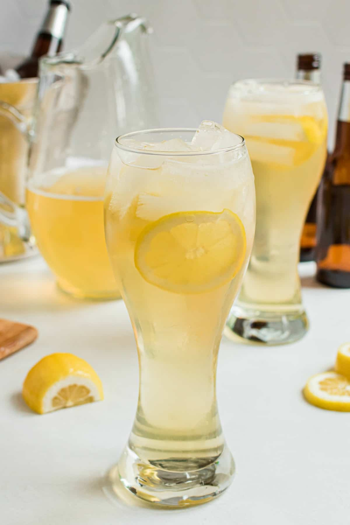 Pilsner glass with lemon shandy made from scratch.