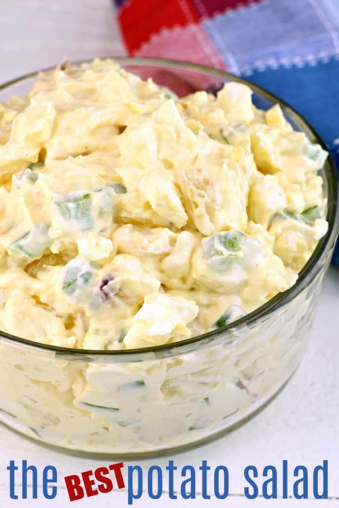 Glass bowl with potato salad.