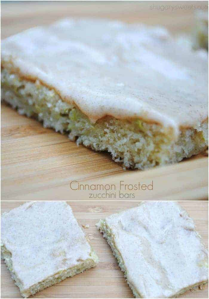 Cinnamon frosted zucchini bars, easy and delicious! www.shugarysweets.com