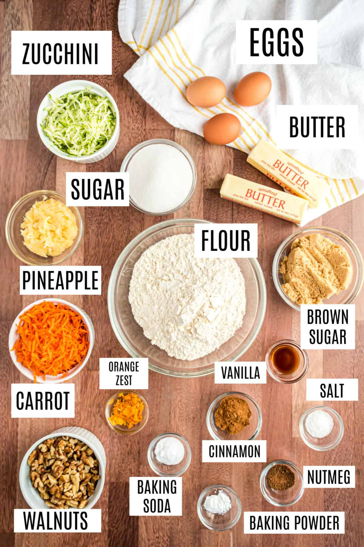 Ingredients needed to make pineapple zucchini bread with carrots.