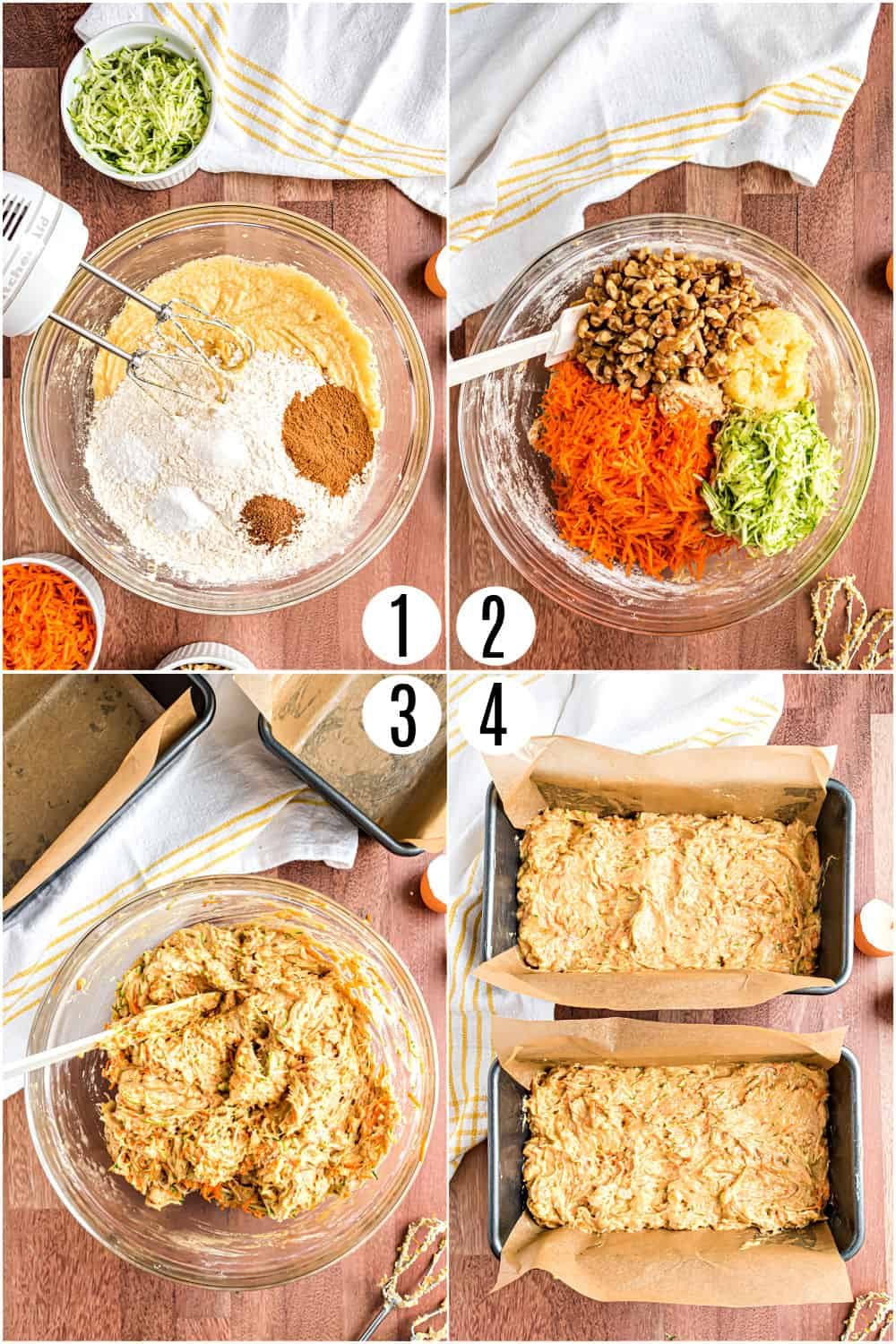 Step by step photos showing how to make pineapple carrot zucchini bread.
