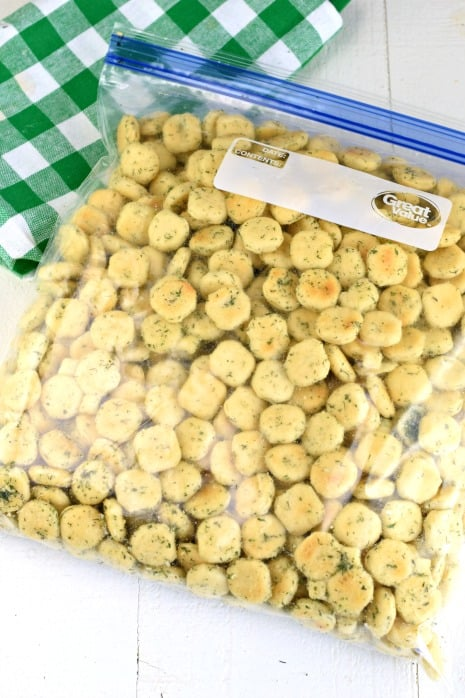 Ziploc bag filled with oyster crack snack mix.