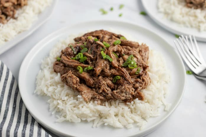 White plate with white rice and shredded pork with green onions.