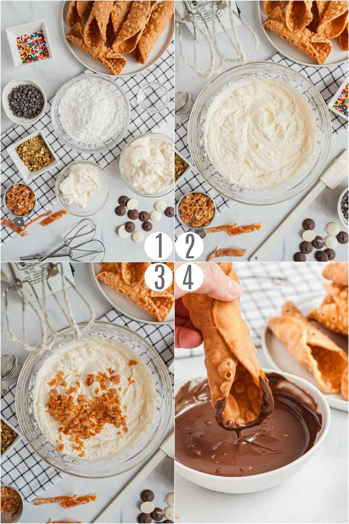 Step by step photos showing how to make homemade cannolis.
