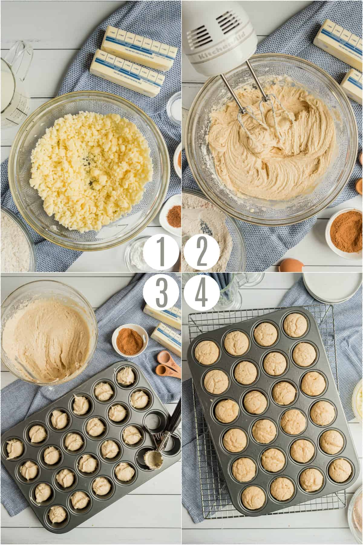Step by step photos showing how to make cinnamon muffins.