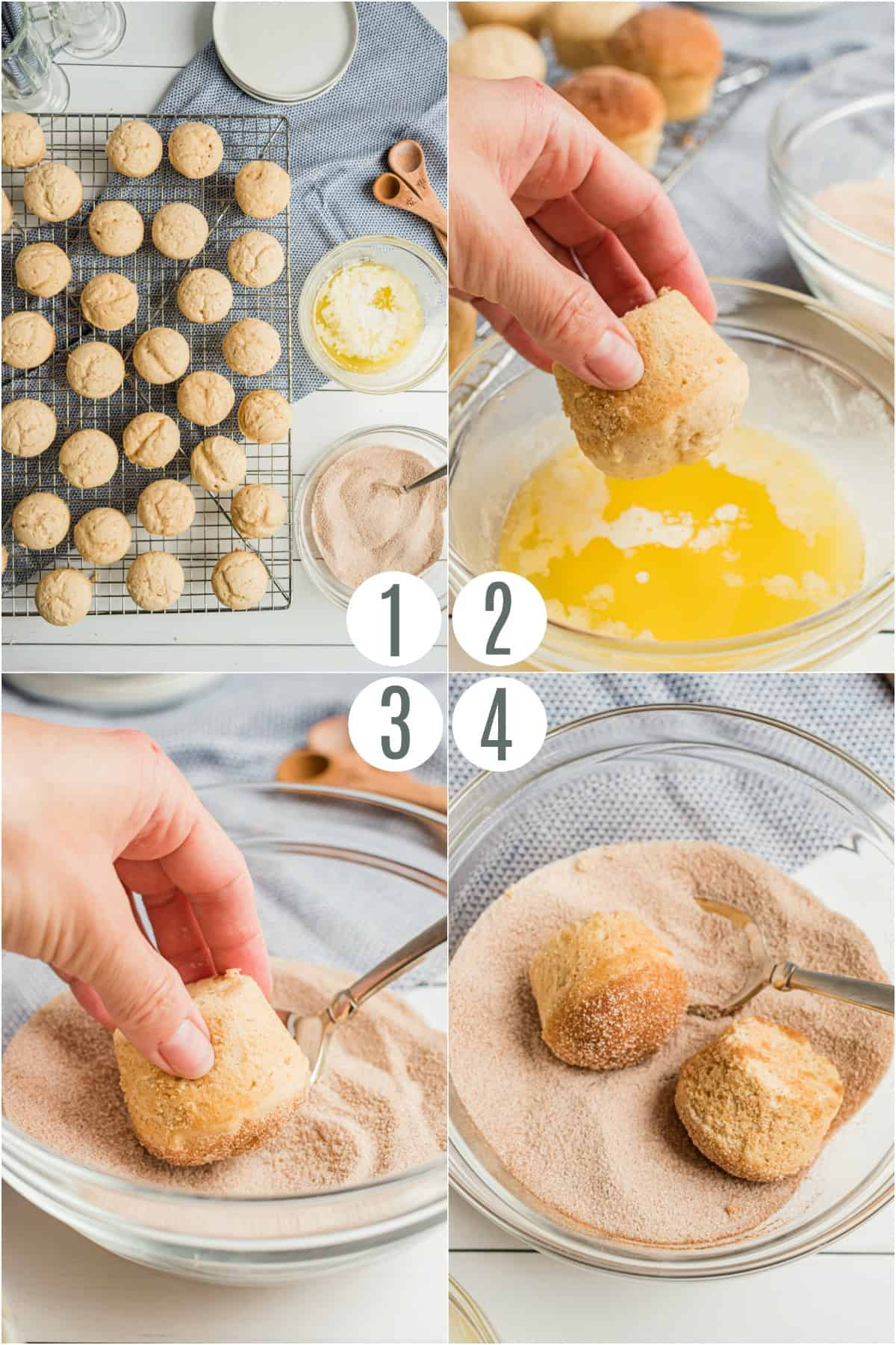 Step by step photos showing how to dunk cooked muffins in cinnamon sugar mix and butter.