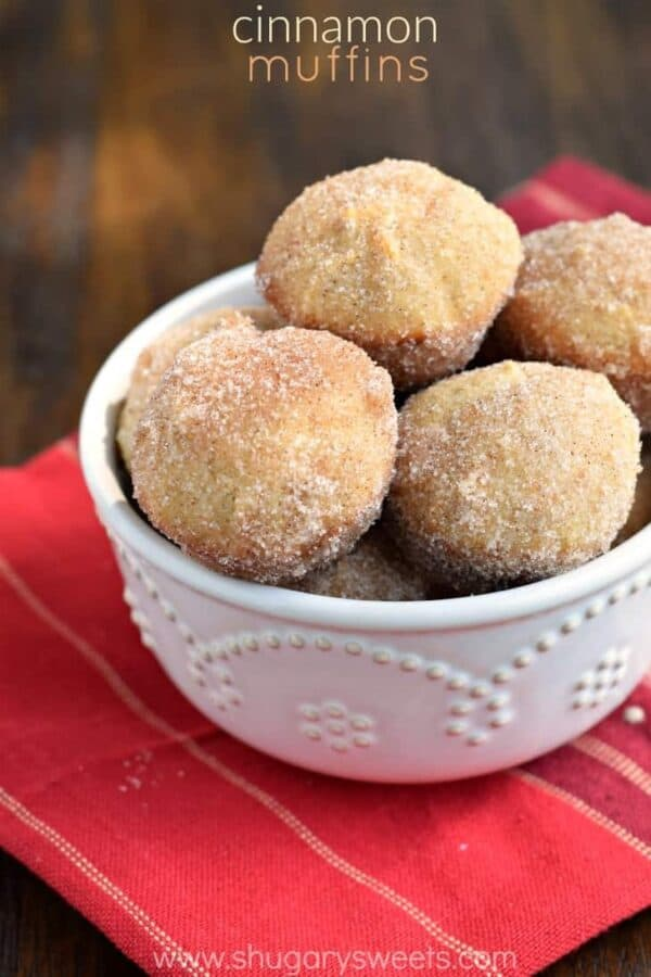 Delicious, easy Cinnamon Donut Breakfast Muffins. These are perfect, popable bites and they freeze well too!