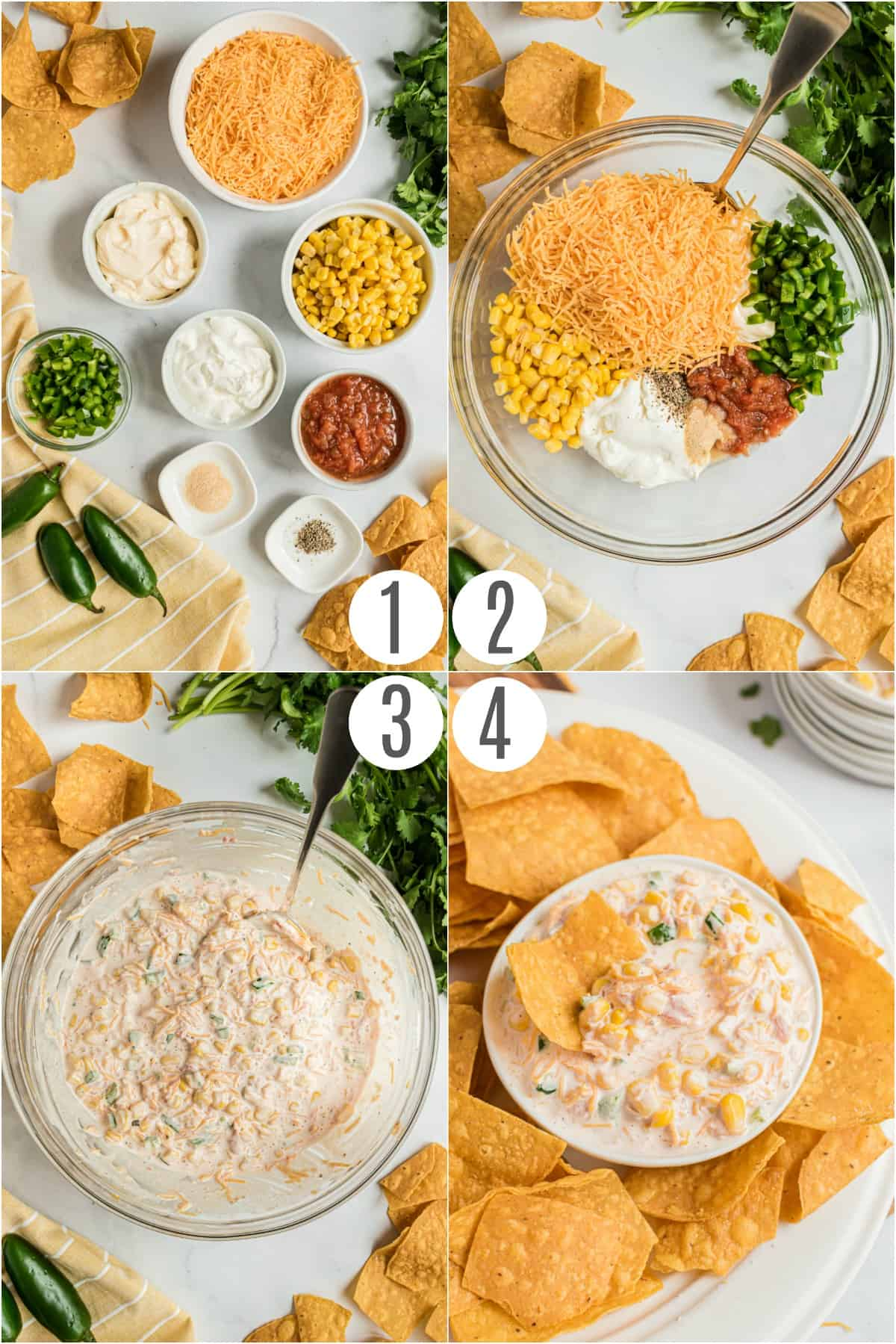 Step by step photos showing how to make jalapeno corn dip.