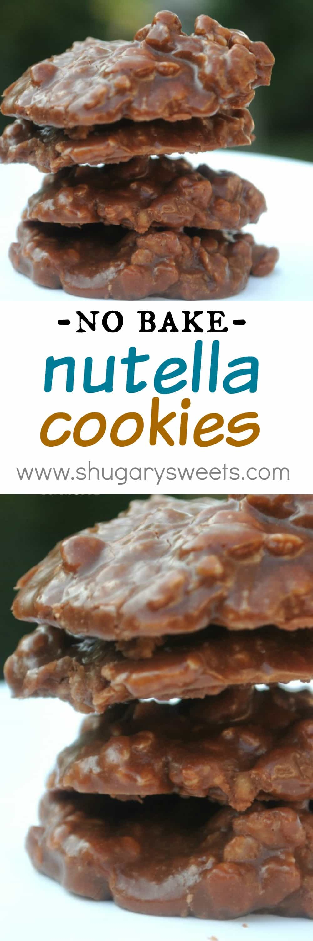 Nutella No Bake Cookies - Shugary Sweets