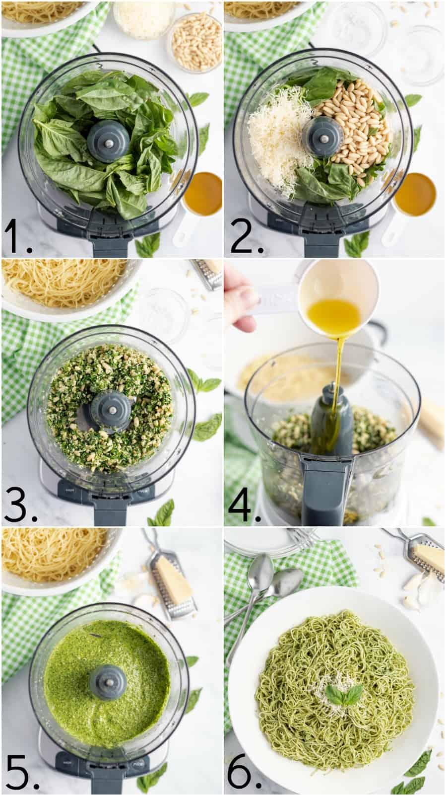 Step by step photo collage on how to make basil pesto.