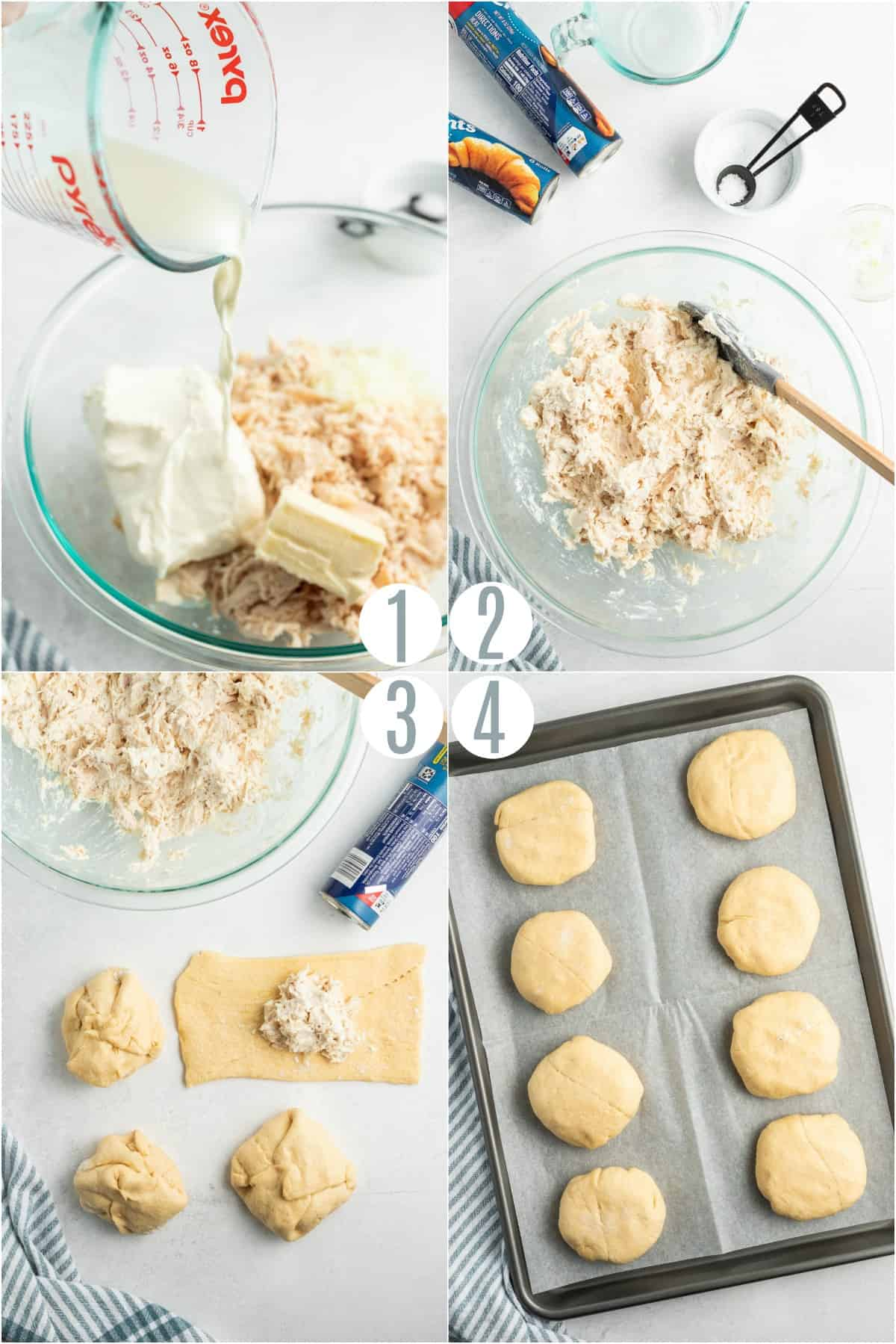 Step by step photos showing how to make chicken pockets with crescent rolls.