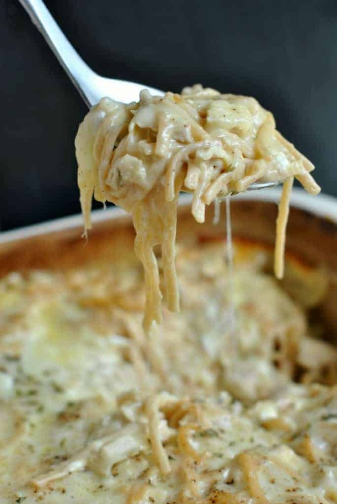 Cheesy, Chicken Tetrazzini. One of our favorite meals, perfect for serving a crowd too! EASY and DELISH! #easydinner #dinnerrecipes