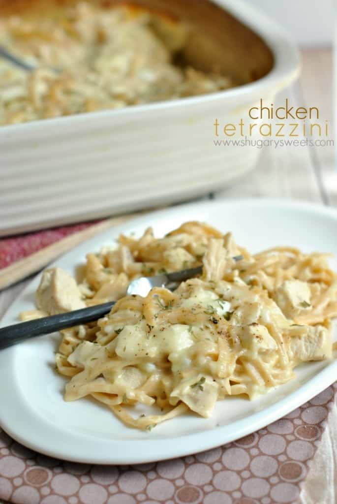 Cheesy, Chicken Tetrazzini. One of our favorite meals, perfect for serving a crowd too! EASY and DELISH!